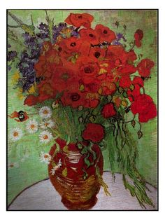 Still Life - Red Poppies and Daisies by Vincent Van Gogh (Aluminum) by New Era at Gilt