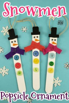 Click Now and Start a family tradition with this easy and fun Snowmen Popsicle stick ornament craft! Crafts For Teens To Make, Fun Diy Crafts, Winter Crafts For Kids, Diy For Kids, Holiday Crafts, Christmas Crafts, Christmas Ornaments, Christmas Tree, Easy Ornaments