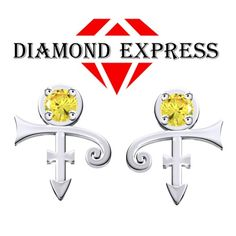 1/3 Ct Yellow Round Cut PRINCE Singer Artist Symbol Stud Earrings. Starting at $1