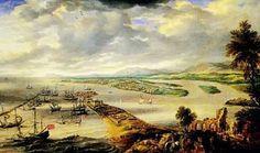 """""""Vista do Recife a partir de Olinda"""".  (Séc. XVII). (by Frans Post)."""