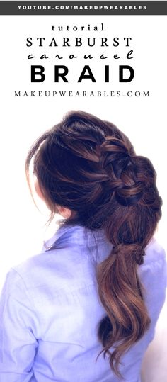 Totally cute, Starburst Carousel Braid hair tutorial video for medium or long hair. How to: Everyday, braided updo hairstyles with steps.