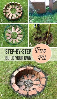 DIY Round Brick Firepit Tutorial, how to build a simple backyard fire pit in the ground with bricks and gravel. DIY Round Brick Firepit Tutorial, how to build a simple backyard fire pit in the ground with bricks and gravel. Diy Fire Pit, Fire Pit Backyard, Backyard Patio, Backyard Landscaping, How To Build A Fire Pit, Building A Fire Pit, Flagstone Patio, Garden Fire Pit, Sloped Backyard