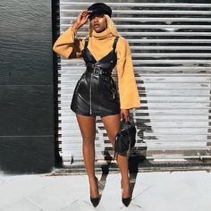Dana Black Leather Dress – Catwalk Connection Source by sequiliastevens Boujee Outfits, Classy Outfits, Stylish Outfits, Fall Outfits, Fashion Outfits, All Black Dressy Outfits, Fashion Styles, Formal Outfits, Fashion Videos
