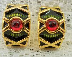 Bright Vintage Cuff Earrings for Pierced Ears - green enamel, strawberry red glass cabochons & gold tone latticework
