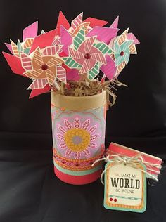 May 2013 SOTM - Pinwheel with Dream Pop Paper - Tamra's Crafty Paper Creations