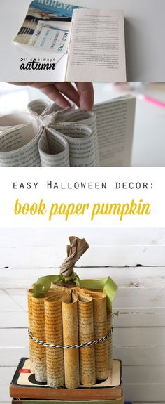 Fun new take on a book paper pumpkin! Easy DIY Halloween decoration. This would be a fun craft night idea.
