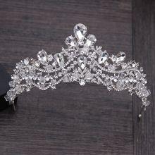 Luxo Cristal de Strass Cabelo Jóias de Prata Banhado A Tiara De Noiva Coroa Acessórios Do Cabelo Do Casamento Noiva Linda Princesa Coroas alishoppbrasil