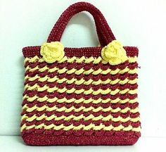 NEW CANDY PINK YELLOW VINTAGE FASHION KNIT CROCHET HAND BAG HANDMADE ZIPPER