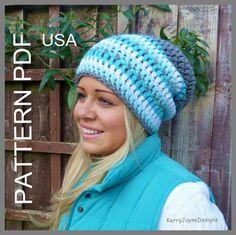 CROCHET HAT PATTERN, Slouch beanie, slouchy hat, Beanie pattern, womens slouch hat pattern, usa pdf, instant download, Dk, Easy hat pattern