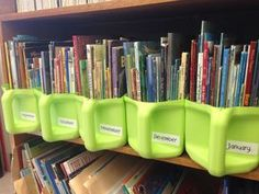 Kitty litter jugs cut (and washed!) and repurposed for holding monthly classroom theme books. Kitty litter jugs cut (and washed!) and repurposed for holding monthly classroom theme books. Reuse Plastic Containers, Plastic Jugs, Recycling Containers, Plastic Bottle Crafts, Recycle Plastic Bottles, Plastic Baskets, Detergent Bottles, Repurposed Items, Reuse Recycle