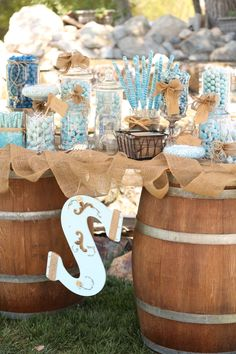 Candy Bar on wine barrels   Photo by: http://www.imaginephotographyca.com/