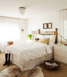 Lauren Liess, bedroom, white, glam, brass lamp, IKEA MALM dresser, cowhide rug