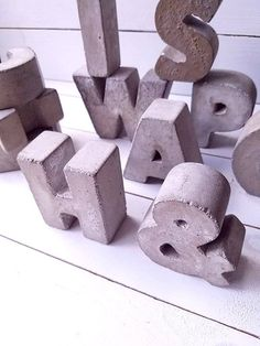 "3"" Concrete Letters FULL ALPHABET Free Standing Concrete Words Alphabet Letters Home Decor Letters Cement Letters Rustic Industrial Decor"
