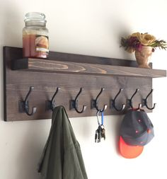 "36"" Rustic Coat Rack with Shelf by JRsCustomWoodwork on Etsy https://www.etsy.com/listing/229117469/36-rustic-coat-rack-with-shelf"