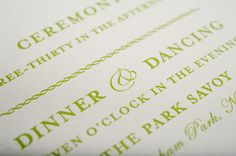 Letterpress Wedding Invites. Classic and simple, whites and grays with green