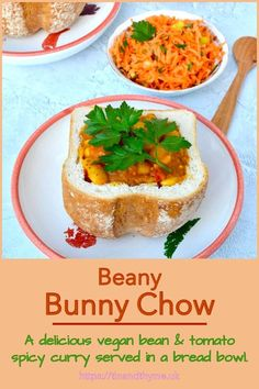 A delicious vegan butter bean and tomato spicy curry served in a hollowed out loaf of bread. Also known as curry in a bread bowl. It's a take on one of South Africa's favourite dishes. Serve with a sharp grated carrot salad for a truly satisfying meal. #TinandThyme #BreadBowl #BunnyChow #VeganCurry #BeanCurry Autumn Recipes Vegetarian, Best Vegan Recipes, Vegetarian Dinners, Bean Recipes, Curry Recipes, Soup Recipes, Vegan Meals, Dinner Recipes, Favorite Recipes