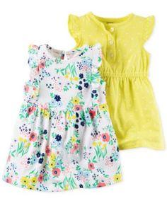 Carter's 2-Pk. Floral-Print & Dot-Print Flutter-Sleeve Dress Set, Baby Girls (0-24 months)