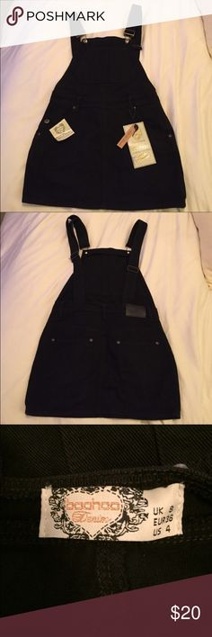 Black denim overall dress *REPOSHING* I LOVE this but it didn't fit me correctly. I am 5'4 and this was very short! I would suggest this for a shorter gal. Very cute, tags still in tact! *photos were taken from the original post* Boohoo Dresses Mini