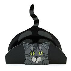 gattoso porta carte o tovaglioli in legno dipinto a mano www.gattosi.com