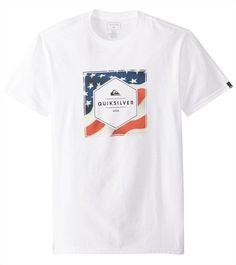 25521209 Quiksilver Men's Stars and Stripes Short Sleeve Tee 8161650 Striped Shorts,  Short Sleeve Tee,