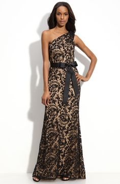 Tadashi Shoji One Shoulder Lace Gown available at Nordstrom