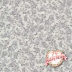 """Rosie's Love Letters 4507-162 by Stof Fabrics: Rosie's Love Letters is a collection by Stof Fabrics. 100% cotton. 43/44"""" wide. This fabric is imported from Denmark and features a packed tonal floral design on a grey background."""