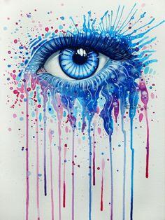 A beautiful blue eye peers out of this splashy watercolor painting by Svenja Jodicke