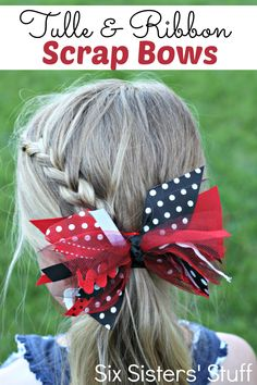 Tulle and Ribbon Scrap Bow from SixSistersStuff.com. No sewing or ribbon tying required! Quick and easy!