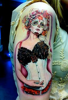 Awesome sugar skull pin up girl