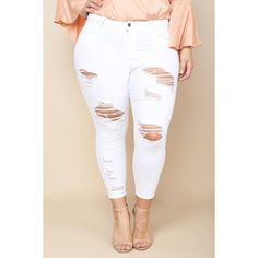 PLUS SIZE DISTRESSED WHITE SKINNY JEANS ($27) ❤ liked on Polyvore featuring jeans, plus size white jeans, distressed jeans, ripped jeans, white distressed jeans and distressed skinny jeans