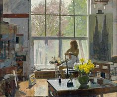Painting by Ken Howard: Dora, Early Spring Light, 08