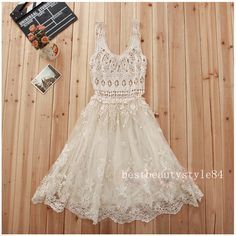 Vintage sheer CROCHET romantic lace HIPPIE Bohemian WEDDING party Holiday DRESS