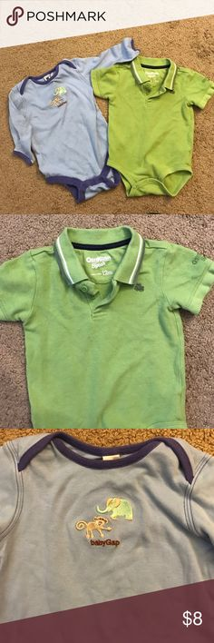 "2 onesies 🎈 Baby Gap and Oshkosh Selling 2 boys onesies. Oshkosh b'gosh light green polo style. Cute embroidered frog. 12 months. 🎈Baby Gap blue. Small embroidered elephant and monkey on front and says ""babyGap"" in brown. Slight stain on gap onesie. See pic. One Pieces Bodysuits"