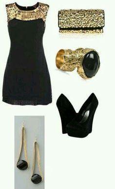 Vestido negro y dorado