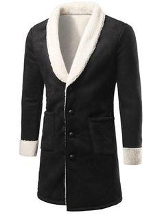 Shawl Collar Patch Pocket Plush Lining Longline Coat