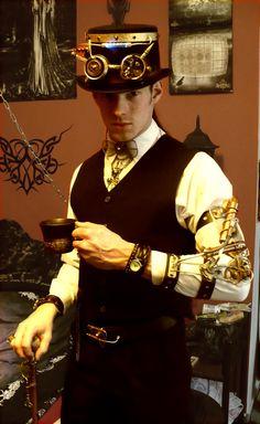 New Steampunk Outfit by Raphaelius.deviantart.com on @deviantART - gotta love a gentleman and a nice cup of tea. <3 C