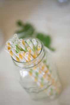 To add a little colorful fun to my #wedding reception table, we included these stripe straws in mason jars! Photo Credit:  http://juliewilliamsphotography.ca/ Straws from http://bhldn.com
