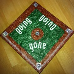 Put tape around edges of brown paper, kids paint green and glue on plates. Baseball rhombus!