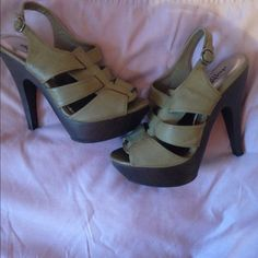 "army green heels 5"" charlotte russe heels.olive green.excellent condition.adorable  Charlotte Russe Shoes Heels"