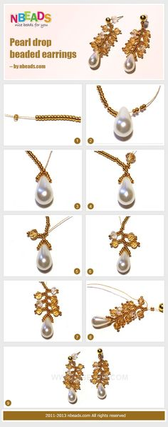 Pearl drop beaded earrings - nice small project with big results. #Seed #Bead #Tutorials