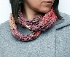 Finger Knitted Multicolor Loop Scarf With Metallic Thread & Golden Magnetic Clip, Knitted Necklace, Chain Loop Scarf, Spring Accessories Knitted Jewelry, Knitted Necklace, Necklace Chain, Necklaces, Finger Knitting, Loop Scarf, Metallic Thread, Wednesday, Knit Crochet