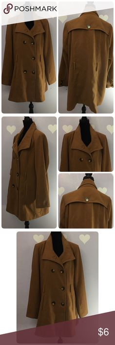 Forever 21 Plus Size Pea Coat Selling it low due to some stains, as seen in pictures#3. Havent tried to clean it. Dry clean only. ❤Stains on the sleeves, right top front shoulder and white spot on the back❤ Shell and lining 100%poly❤ All buttons are intact, the flaws due to stains. Forever 21 Jackets & Coats Pea Coats