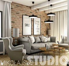 Piękny projekt salonu ze ścianą z czerwonej cegły Boutique Interior Design, New Interior Design, Interior Decorating, Brick Interior, Living Room Interior, Living Room Decor, Condo Design, Studio Living, Living Room Inspiration