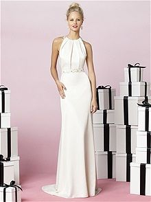Chic, simple bridal gown in renaissance satin. After Six by Dessy.