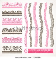 Ornamental seamless borders. Vector set with abstract floral elements in indian style. Henna collection. Used pattern brushes included