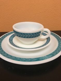 Pyrex Cup Saucer \u0026 Plate Teal Laurel Leaf Pattern & 12 Piece Set of Pyrex Corning Grey Autumn Band - Laurel Dishes ...