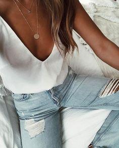 #summer #outfits / v neck + denim