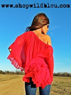 Rich Girl Red Chiffon Off Shoulder- One size flatters most. $65.00 www.shopwildbleu.com