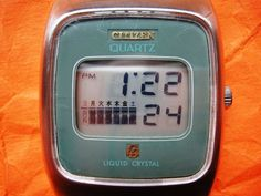 CITIZEN CRYSTRON. For sale a rare crown-set LCD watch by Citizen, their first LCD from 1974. - the square version with rare blue-green mask. Japanese 1974. - the rare round version with black dial. FIRST LCD WATCH. | eBay!
