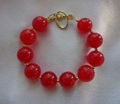 Stunning Red Jade Bracelet by BathshebasJewels on Etsy Jade Bracelet, Beaded Bracelets, Sexy White Dress, Earring Set, Color Pop, Fashion Accessories, Gemstones, Jewels, Red